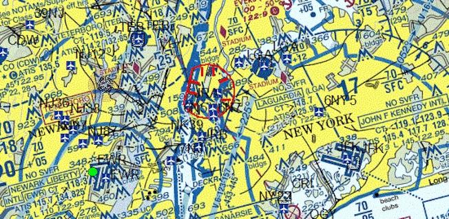Mapa del TFR publicado en la web de la FAA