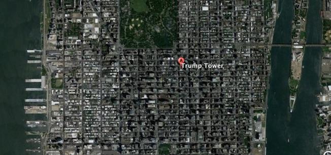 La Torre Trump está cerca de la zona sur de Central Park / Google Earth
