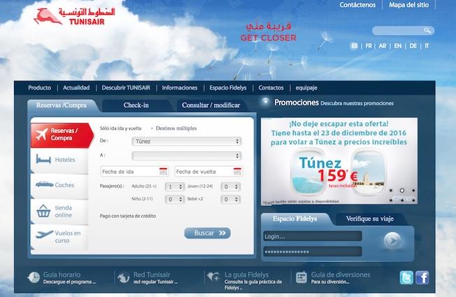 Portada de la versión en español de la web de Tunisair